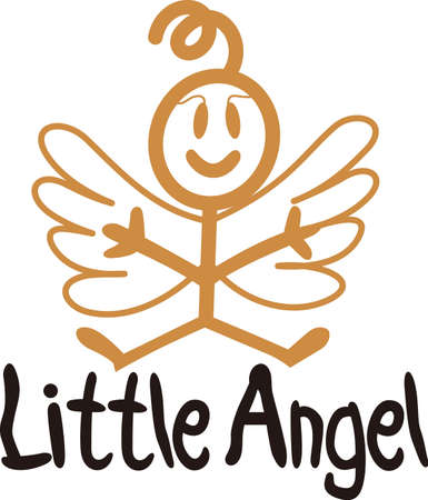 Heaven has sent a special angel!  This super cute stick figure angel is the perfect decoration for nurseries and baby gear.  Use with your vinyl software to quickly create SVG files! Stock Vector - 51211455
