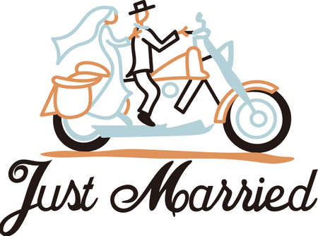 Our bride and groom are off to their new life together on a bicycle built for two!  This sharp line art adds unexpected charm to wedding napkins or shower dcor. Иллюстрация