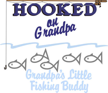 buddy: Fishing with grandpa is a special time for the little guy.  Use this fun graphic to create the best shirt for fishing with grandpa ever! Illustration