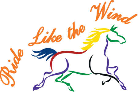 A multi-colored treat for the horse lovers! Brightly colored lines come together to create an artistic equine creation for your riding gear.