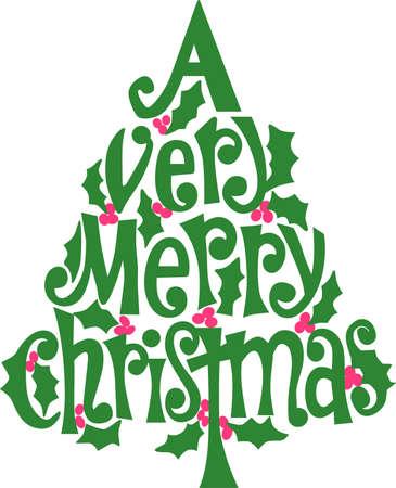 Wenst u hier een heel vrolijk kerstfeest allemaal samen in een feestelijke boom van hulst! Mooi op vakantie kleding en decor.