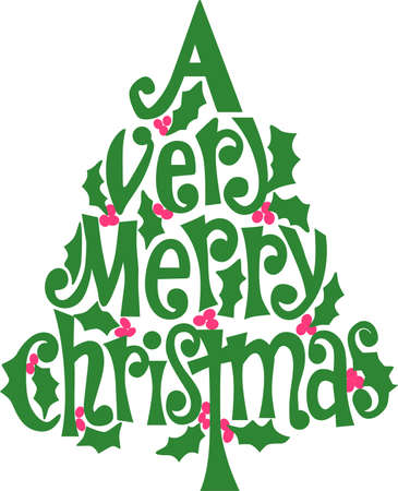 Here's wishing you a very merry Christmas all put together in a festive tree of holly!  Lovely on holiday apparel or dcor.