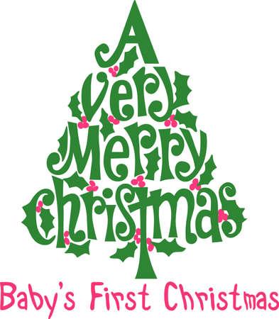 ここであなたを非常に陽気な希望はホリーのお祝いツリーで一緒にクリスマスのすべて! 素敵な休日の衣服や装飾に。