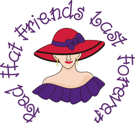 Add a bright bow to a hat to make it extraordinary.  A big red hat on a pretty lady adds a bright touch to your creations. Illustration