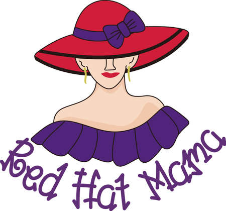 adds: Add a bright bow to a hat to make it extraordinary.  A big red hat on a pretty lady adds a bright touch to your creations. Illustration