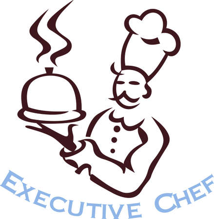 Were serving up the perfect dish.  Our chef outline is just the perfect touch for aprons and kitchen linens.