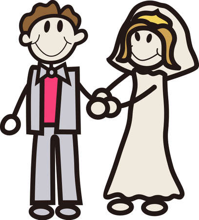 Celebrate with the happy couple on their wedding day.  We've got the cutest couple ever on their wedding day.  Fantastic stick people design for invitations or reception decoration.