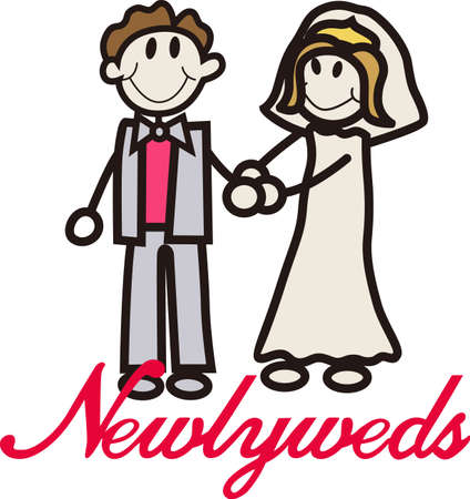 wedding reception decoration: Celebrate with the happy couple on their wedding day.  Weve got the cutest couple ever on their wedding day.  Fantastic stick people design for invitations or reception decoration.