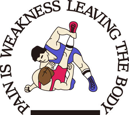 Wrestling is a fun sport taking years to master.  Add this image to a towel for your favorite player.  They will love it! Illustration