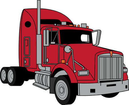 De klassieke vrachtwagen zal voldoen voertuig-liefhebbers van alle leeftijden! Groot ontwerp voor T-shirts en sweatshirts. Stock Illustratie