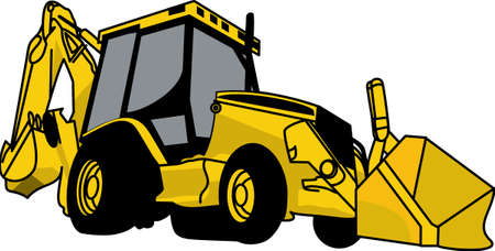 backhoe loader: The classic farm truck will satisfy vehicle-lovers of all ages!  A great design for T-shirts and sweatshirts.