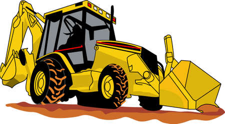 backhoe loader: Does your little tyke dream of driving a backhoe around If they didnt before, they will now!   A great design on t-shirts, sweatshirts and more. Illustration