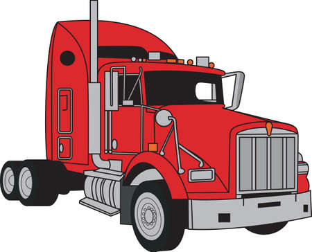 18 wheeler: This classic farm truck will satisfy vehicle-lovers of any age! Great design for T-shirts and sweatshirts. Illustration