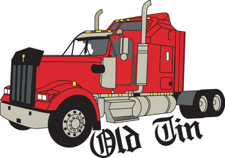 18 wheeler: Does your little tyke dream of driving a tractor around If they didnt before, they will now!   A great design on t-shirts, sweatshirts and more. Illustration