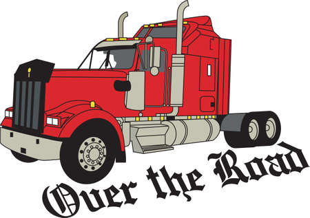 18 wheeler: The classic truck will satisfy vehicle-lovers of any age!  Great design for T-shirts and sweatshirts. Illustration