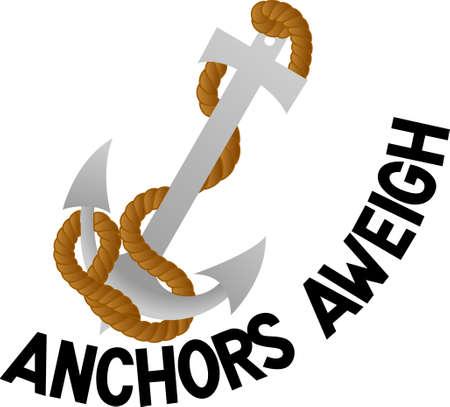 Kameraadschappelijke Ahoy! Hijs het anker en zet de zeilen, zodat u kunt er uit om uw volgende aanloophaven. Een groot ontwerp op projecten voor de zeilers. Stock Illustratie