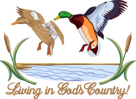 cattail: We love outdoors designs and this is one of the most lovely.  Ducks in flight in the  wetlands make a lovely decoration for home decor and hunting apparel.