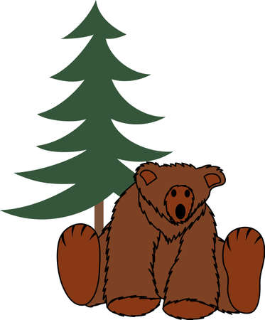 appeal: Bring woodsy appeal to your home projects with this bear and pine tree design! Illustration