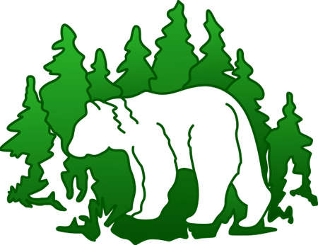 This bear silhouette is a very artistic creation taking into the picture lovely evergreens.  Perfect for fleece and sweats.