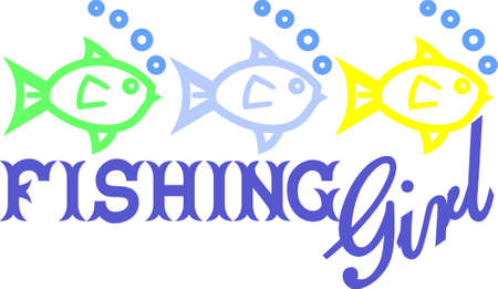 Fishing isnt just for the boys - its for the girls!  This design displays just that thought with these three little fish for the girls! Çizim