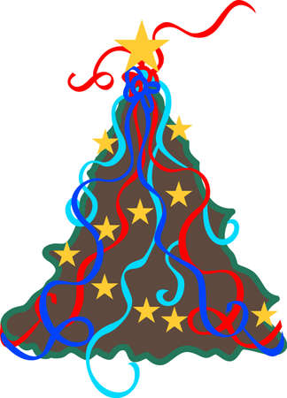 tannenbaum: Swiggles, stars and swirls create a stunning Christmas tree.  Great for vinyl cuts and creations in print. Illustration