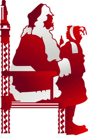 fictional character: Precious moments from holidays past with this child and Santa in silhouette.  A design that creates lovely holiday greetings.