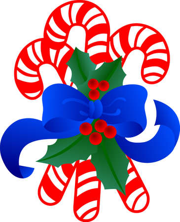 A sugar cane trio is sure to make your holiday sweeter!  Decorate it with a holly trimmed bow for the perfect confection!  イラスト・ベクター素材