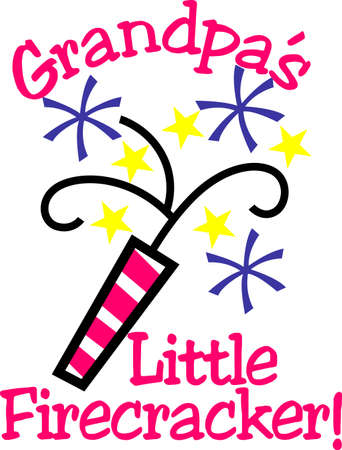 Here's a special July 4th design just for the little ones!  Give your little firecracker a special creation decorated with this fun firecracker! Illusztráció