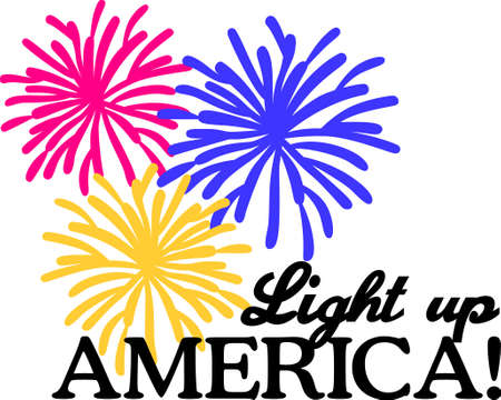 displays: Its time to celebrate the 4th of July with the brightest of fireworks.  Add these bright displays to shirts for the celebration. Illustration