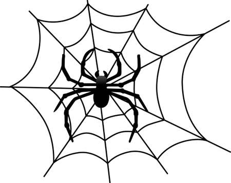 black widow: Our big, black spider weaves a scary web for Halloween creations.  Just perfect for invitation print art or shirt screen printing.