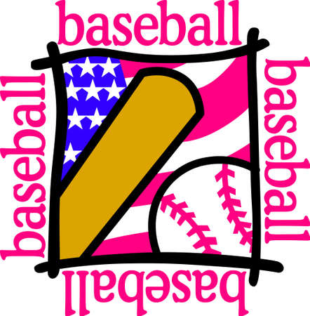 Baseball and the Fourth of July are for all American traditions.  This design is perfect tee shirt art for your celebration at the baseball park.