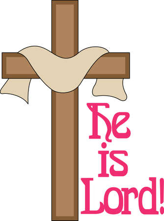calvary: He is risen, the sacred message of Easter is told in this lovely design.  Perfect print art for Easter church service handouts. Illustration