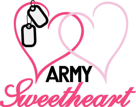 sweetheart: Love your military sweetheart - we have your design!  A great Valentine or Wedding design.  Perfect for vinyl cuts.