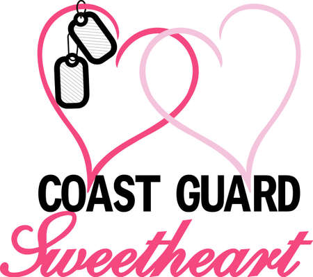 coast guard: Love your military sweetheart - we have your design!  A great Valentine or Wedding design.  Perfect for vinyl cuts.