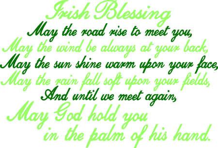 Cette bénédiction traditionnelle irlandaise est un chef-d'?uvre dans le texte. Idéal pour une création artistique d'impression encadrée Vecteurs