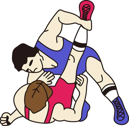 Wrestling is a fun sport taking years to master.  Add this image to a towel for your favorite player.  They will love it! Reklamní fotografie - 51222321