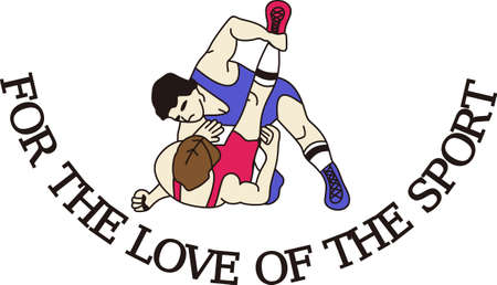 Wrestling is a fun sport taking years to master.  Add this image to a towel for your favorite player.  They will love it! Çizim