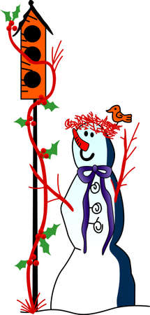 jack frost: Our special snowman is a dedicated bird lover!  A truly fun holiday creation completed with holly and birds!