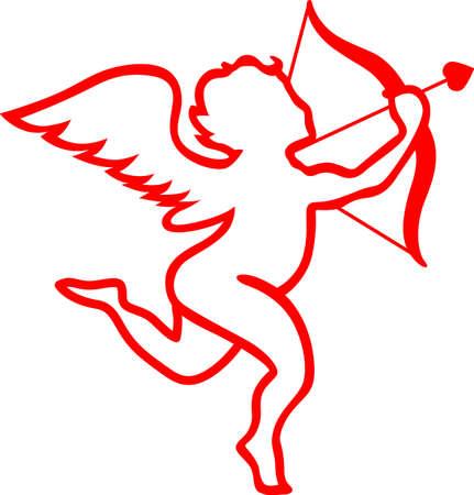Cupido prende la mira per il cuore! linee taglienti belle fanno di questa romantica cherubino una grande scelta per i tagli in vinile. Vettoriali