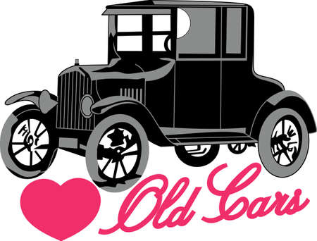 antique car: This antique car is great vibrant design on gifts for friends or family who are hopelessly retro! Illustration
