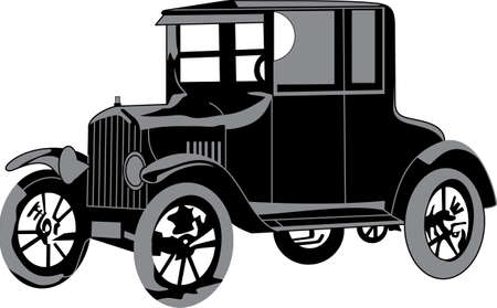 jalopy: This antique car is great vibrant design on gifts for friends or family who are hopelessly retro! Illustration