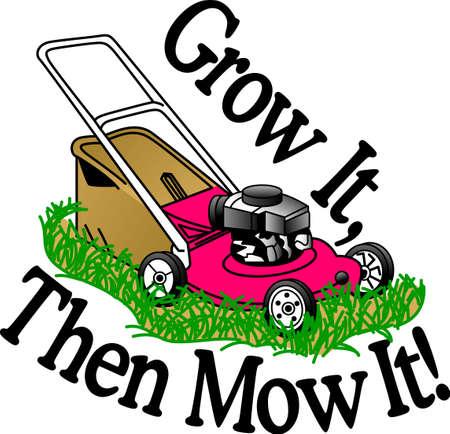 올바른 도구와 잔디를 깍는하고 이웃의 부러움 당신의 녹색 걸작이있다! 원예 앞치마, 티셔츠 등에 대한 좋은 디자인.