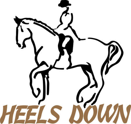 bring up: Every good rider knows - heels down, toes up!  Bring this basic riding instruction to your creations with this artistic equestrian.