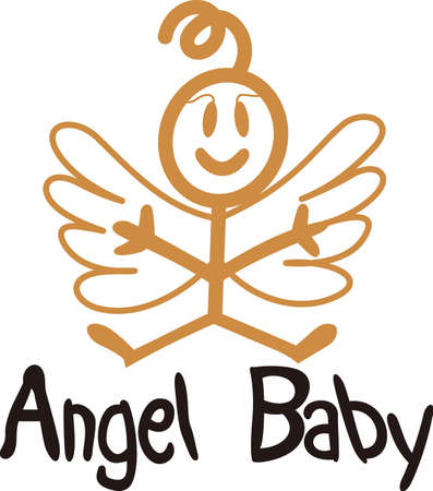 svg: Heaven has sent a special angel!  This super cute stick figure angel is the perfect decoration for nurseries and baby gear.  Use with your vinyl software to quickly create SVG files!