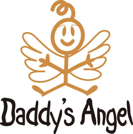 Heaven has sent a special angel!  This super cute stick figure angel is the perfect decoration for nurseries and baby gear.  Use with your vinyl software to quickly create SVG files! Stock Vector - 51224786