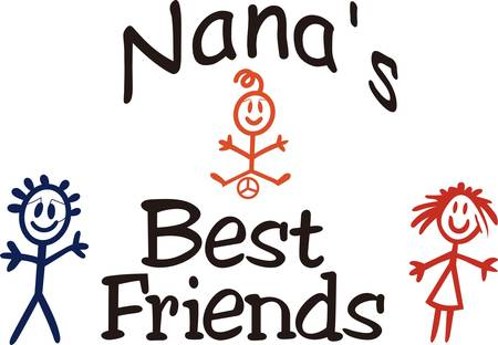 Little ones bring a ray of sunshine to any day!  Create something special for your nana or mom with this sweet graphic.  Love it on shirts combined with our stick people designs! Çizim