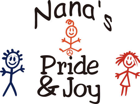 grannie: Little ones bring a ray of sunshine to any day!  Create something special for your nana or mom with this sweet graphic.  Love it on shirts combined with our stick people designs! Illustration