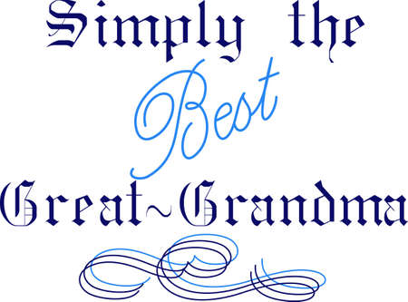 A touch of elegance in the scroll and lettering styles make this a design uniquely fitting for a great grandma.  We love it as print art in a hand made frame!