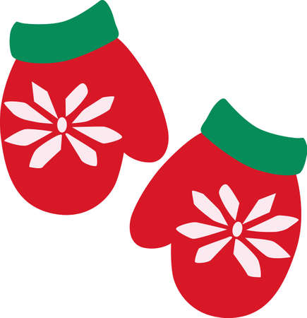Snowflake decorated red mittens complete the holiday look.  Warm some hands and hearts with these festive holiday mittens decorating your Christmas projects.