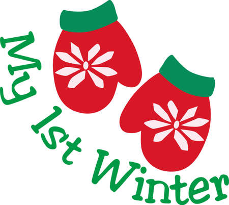 Snowflake decorated red mittens complete the holiday look.  Warm some hands and hearts with these festive holiday mittens decorating your Christmas projects. Banco de Imagens - 51224964